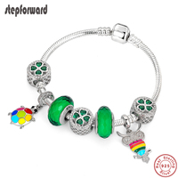 STEP FORWARD 100% 925 Sterling Silver Four Leaf Clover Bead Turtle Owl Pendant Bracelet & Bangle For Girl Fashion Jewelry WLB011