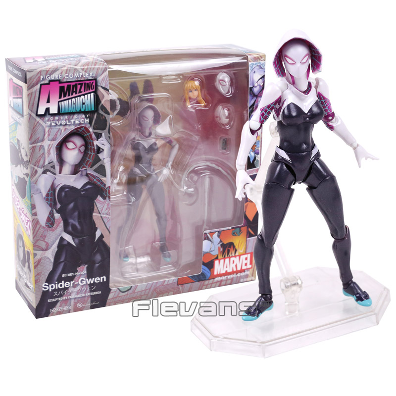 Revoltech Series NO.004 Spider Gwen Stacy PVC Action Figure Collectible Model Toy 15cm series no 001 revoltech deadpool venom no 003 spider manno 002 004 iron man with bracket pvc action figure collectible model toy