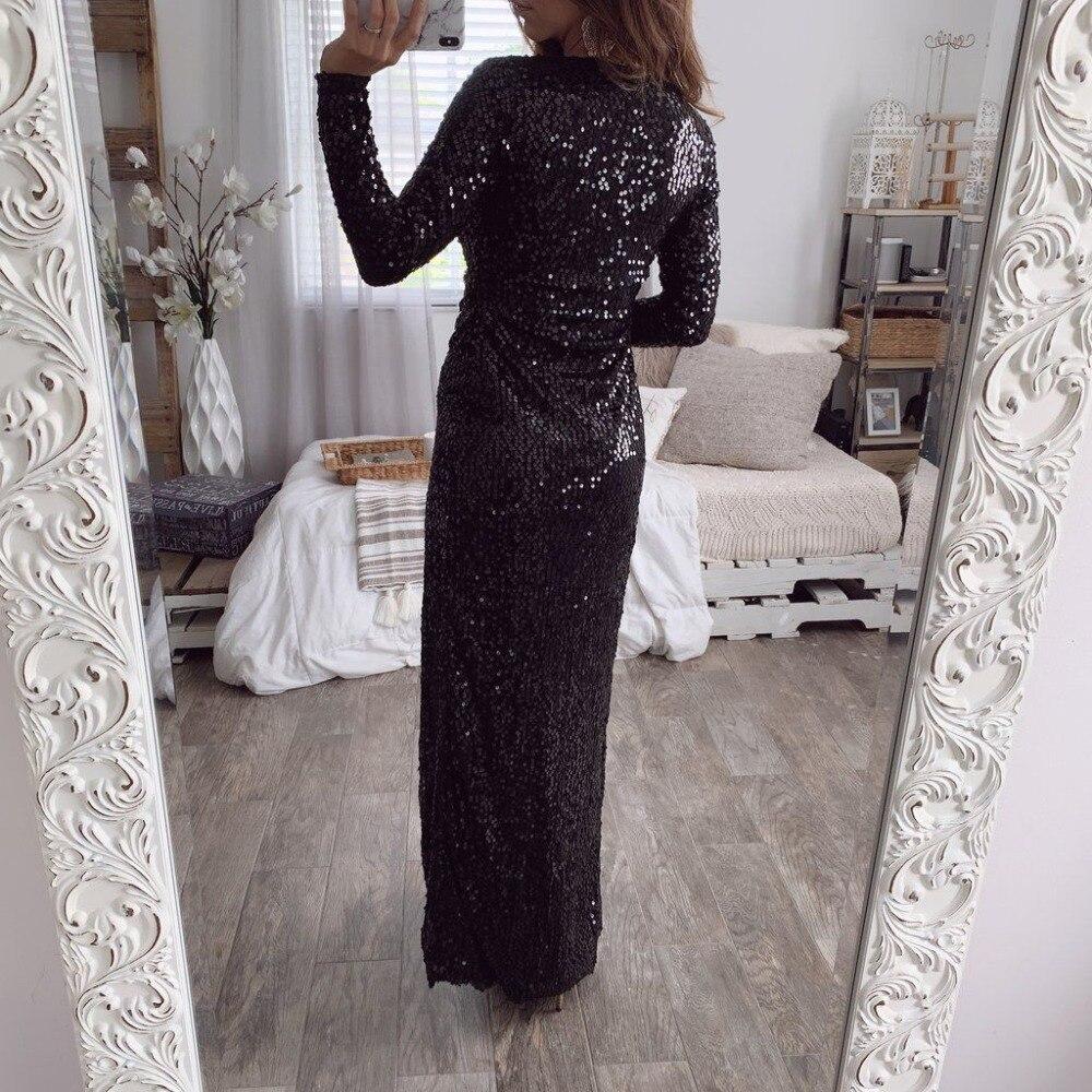 Grande taille femmes noir paillettes haute fente profonde col en V soirée fête Maxi robe de bal 2019 - 2