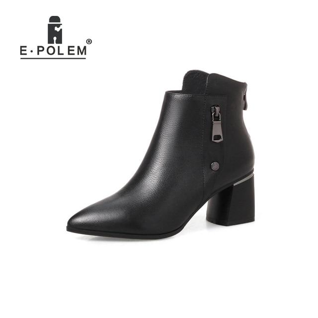 bd1b805dabb9 Genuine Leather Martin Boots Metal Rear Zipper Punk Ankle Boots Women High Heel  Winter Velvet Boots Teenage Girl Boots Shoes