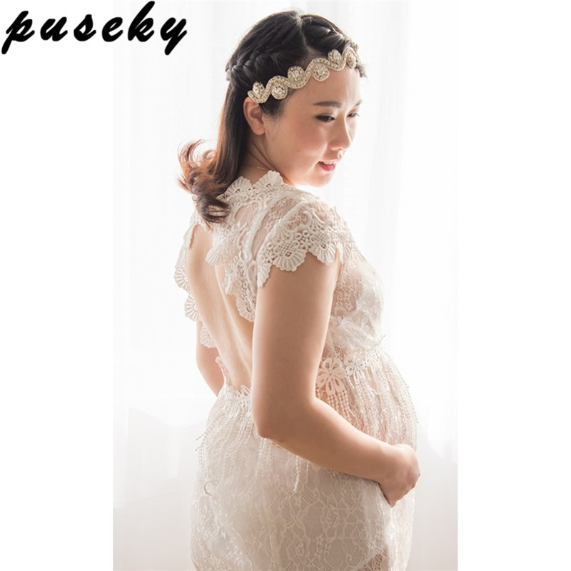Puseky Maternity Photography Props Gown Lace Maternity Gown Pregnant Fancy Photo Shooting See Through Long Pregnant Women Dress see through lace chiffon dress