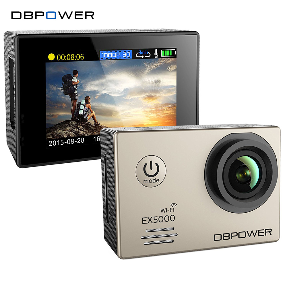 Prix pour DBPOWER D'origine EX5000 WIFI 12MP Action Sports Caméra 1080 p 30fps étanche Cam SJ5000 avec 2 amélioré batteries + accessoires