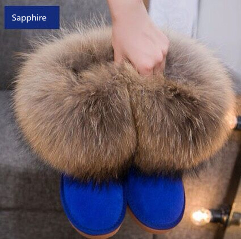 ФОТО Winter Natural Real Big Fox Fur Gneuine Leather Recoon Fur Snow Boots Women Low Short Tube Ankle Boots Female Sapphire Fur Boots