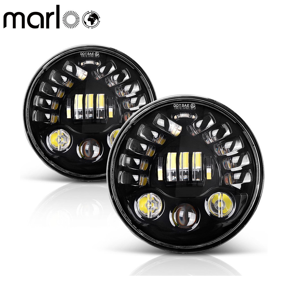 Marloo 2X 7inch LED Headlight Left Right Turn Signal DRL For Jeep Wrangler JK TJ Sahara Rubicon Freedom Dragon Edition Unlimited 1 set black projector headlight 7 inch auto headlamp with halo ring for jeep wrangler unlimited rubicon sahara jk harley