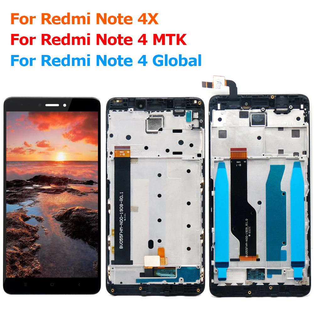 For Xiaomi <font><b>Redmi</b></font> <font><b>Note</b></font> 4 <font><b>Pro</b></font> <font><b>LCD</b></font> Assembly Display Touch Screen With Frame Screen for Xiaomi <font><b>Redmi</b></font> <font><b>Note</b></font> 4X Display 3G+32G image