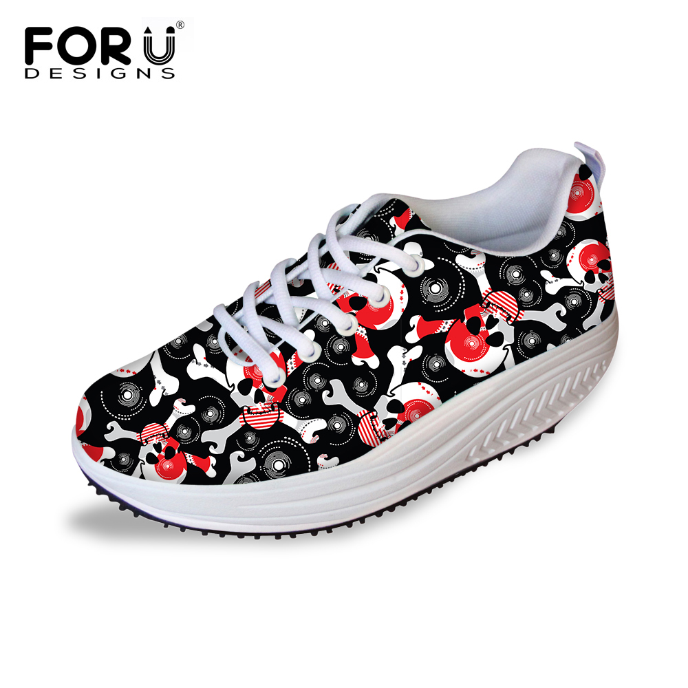 FORUDESIGNS Casual Wedge Slimming Swing Shoes For Women,Lady's Punk Skull Platform Shoe,Fashion Female Breathable Mesh Shape Ups forudesigns women casual wedge platform shoes 3d animal rabbit printed height increasing shoes shape ups for female swing shoes
