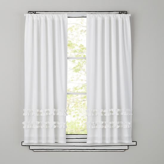 White Ruffled Curtain Panels 100 Cotton For S Room Princess Bedroom One Pair