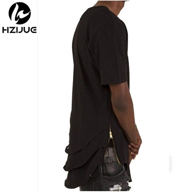 Justin Bieber Extended T shirt Mens Fishtail Multi Fold Curved Hem Side Zipper Short Sleeve Longline T shirts Hip Hop KANYE