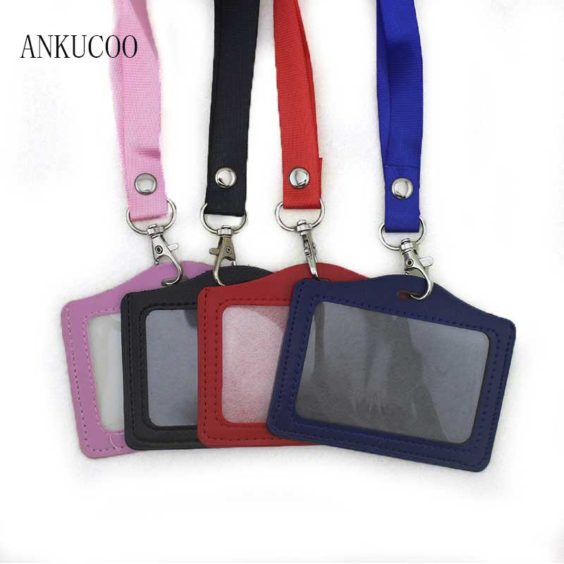 Women Men Name Credit Card Holders Horizontal PU Bank Card Neck Strap Card Bus ID holder candy color Identity badge with lanyard high grade pu card holder staff identification card neck strap with lanyard badge neck strap bus id holders