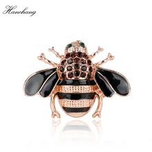 HANCHANG Jewelry 2018 Hot Sale Bees Brooch Black Enamel Corsage Hats Scarf Clips Accessories Green Eyes Brooches For Women Party