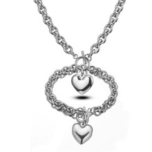 8mm Fashion Womens Girls 316L Stainless Steel Silver Rolo O Link Chain Heart Pendant Necklace And Bracelet Jewelry Sets Hotsale