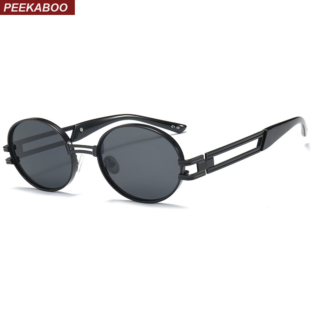 36ad79a4027 Peekaboo small oval sunglasses for men 2018 yellow pink brown vintage women  sun glasses round metal frame unisex uv400