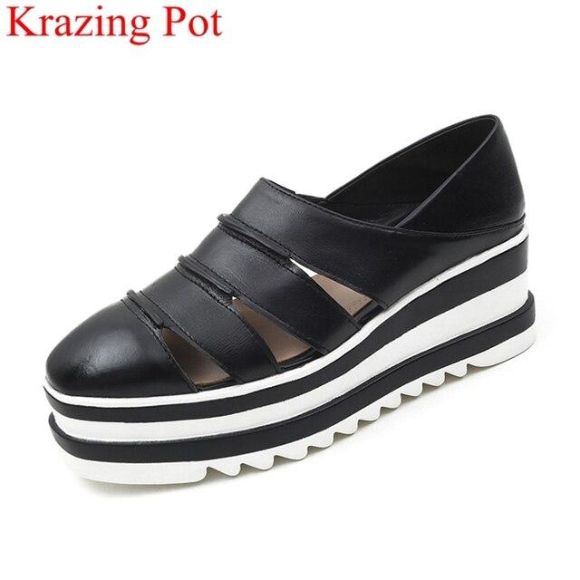 2018 nueva llegada plataforma deslizamiento en tacones de cuña mujeres bombas square toe zapatillas loafer sólido casual tamaño grande Oxford zapatos L5f6