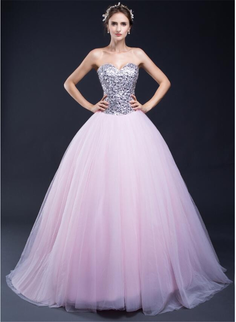 9d02344327d SHAMAI Sweetheart Lace-up Pink Tulle Wedding Ball Gown Cheap Slivery  Sequined Top Quinceanera Dresses Floor Length Prom Dress
