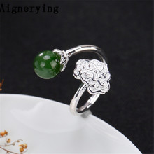 925 Sterling Silver Rings For Women Jade Adjustable Ring Handmade Jewelry Silver Flower Ring Gift tray with Box Jewelry