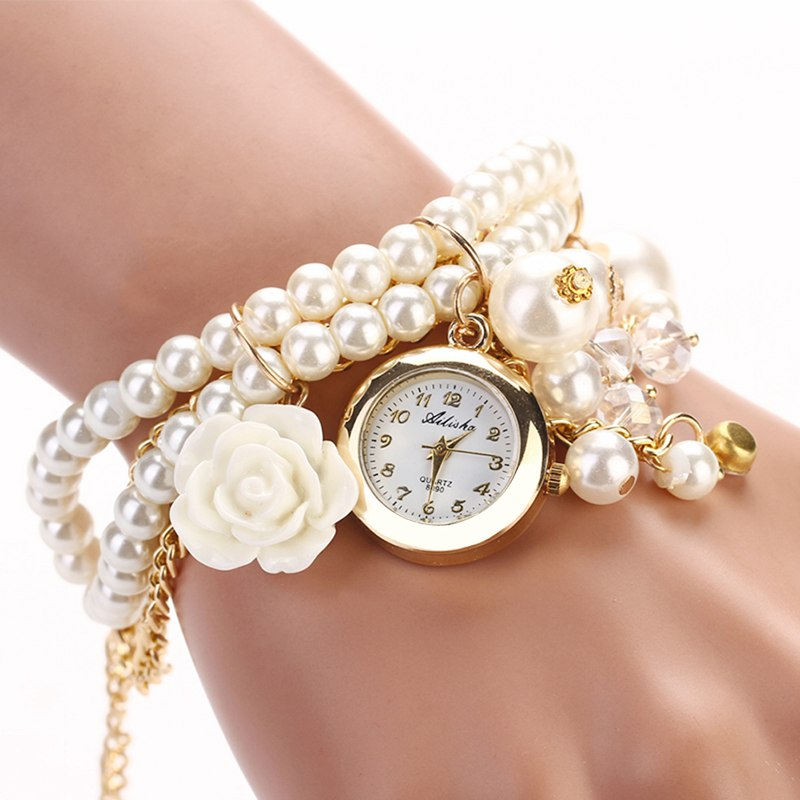 New Fashion Women Watches Lady Rose Pearl Pendant Bracelet Wrist Watch reloj mujer saat relogio feminino orologi donna 2016 new watch creative fashion lady love rose gold bracelet watch korea version of the trend of personalized watches