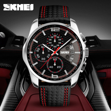SKMEI Men Chronograph Watch Men's Quartz Watch Man Sports Watches Genuine Leathe