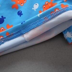 Image 5 - Conjunto de maiô com estampa de caranguejo, roupa de banho para bebês meninos com 3 peças, camiseta de manga longa para natação + troncos + chapéu