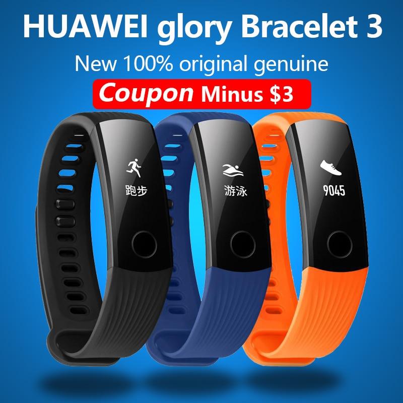 imágenes para Nueva original huawei gloria Pulsera 3 Bluetooth Inteligente de movimiento, la frecuencia cardíaca, poligrafía, Reloj impermeable Para xiaomi 2