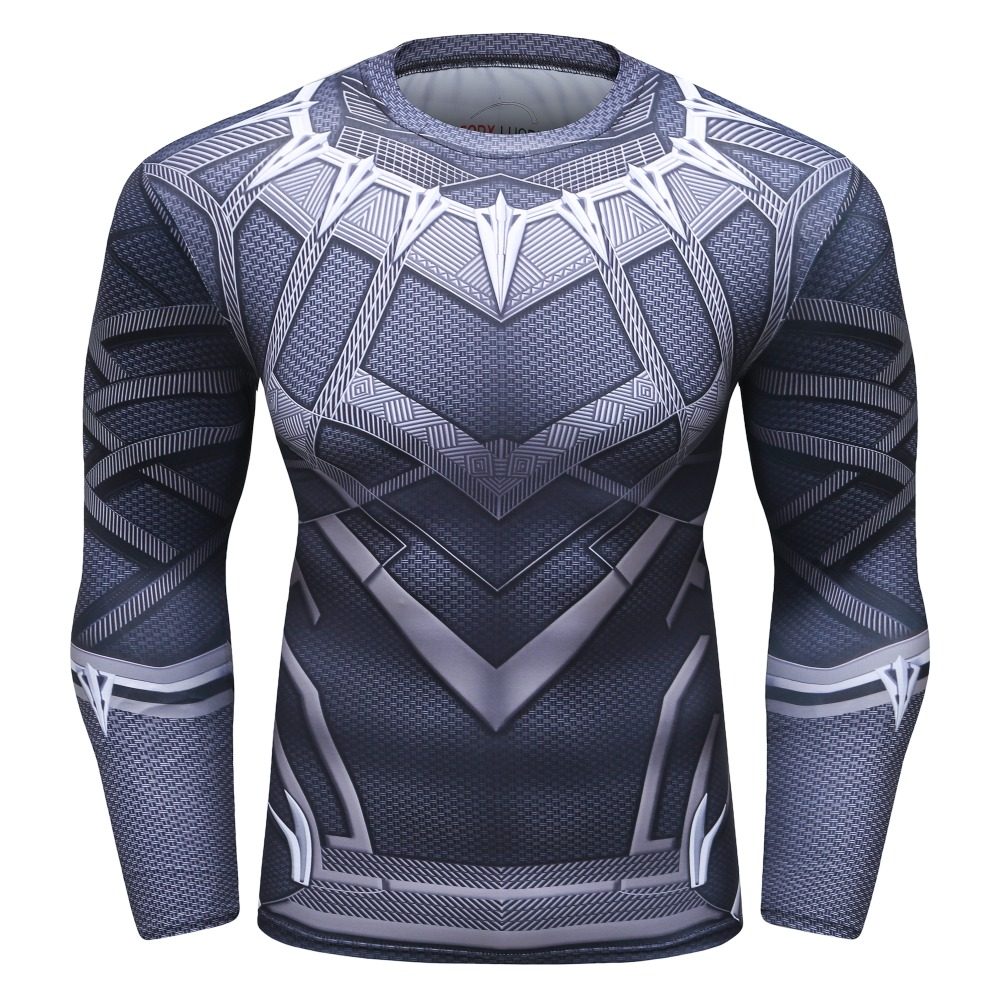 4f6db291ad96 New Black Panther 3D Printed T shirts Men Compression Shirt Long Sleeve  Funny Costume Fitness Body Building Male Crossfit Tops