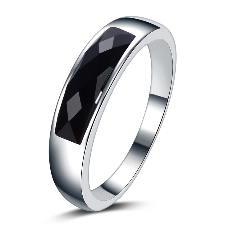 2017 new arrival high quality black crystal 925 sterling silver ladies`wedding finger rings jewelry gift drop shipping women