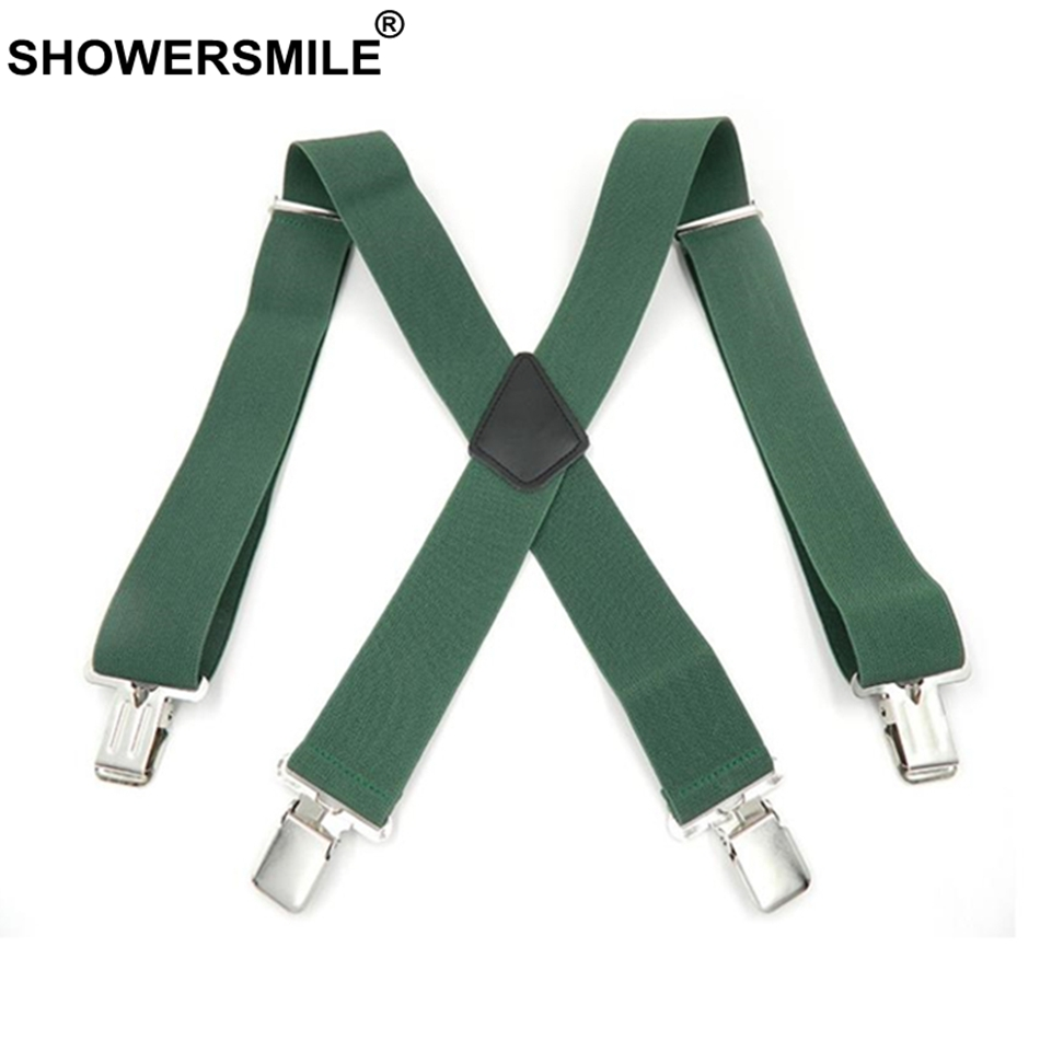 SHOWERSMILE Green Men Shirt Suspenders Wide 5cm Mens Braces 120cm 4 Clips Adjustable Leather Trousers Strap Gift For Boyfriend