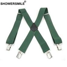 SHOWERSMILE Green Men Shirt Suspenders Wide 5cm Mens Braces 120cm 4 Clips Adjustable Leather Trousers Strap Gift For Boyfriend