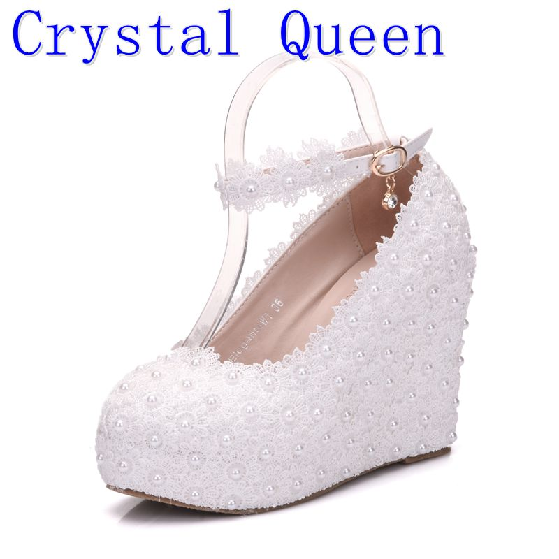 Us 31 5 30 Off Crystal Queen White Wedges Wedding Pumps Sweet White Flower Lace Pearl Platform Pump Shoes Bride Dress High Heels In Women S Pumps