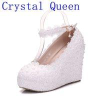 Fashion White Wedges Wedding Pumps Sweet White Flower Lace Platform Pump Shoes Pearl Wedding Shoes Bride