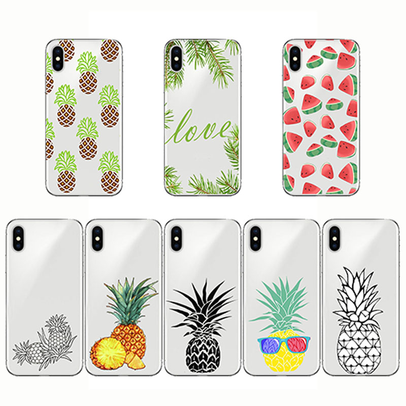 Silicone Soft Clear TPU Pineapple Watermelon Design Phone <font><b>Case</b></font> for <font><b>iphone</b></font> 5S <font><b>SEXS</b></font> MAX XR 8 <font><b>7</b></font> 6S 6 <font><b>PLUS</b></font> 11 pro image