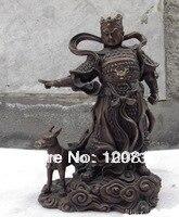 00932 de China El Budismo clásico cuento popular er-Lang Dios buda fengshui estatua de bronce rojo