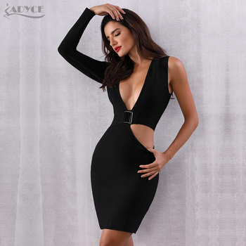 Sexy Hollow Out Deep V Bodycon Clubwears Celebrity Evening Party Dress