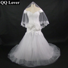 New Fashion African Lace Off The Shoulder Mermaid Wedding Dress With Veil Gift Custom-made Plus Size Bridal Gown With Video