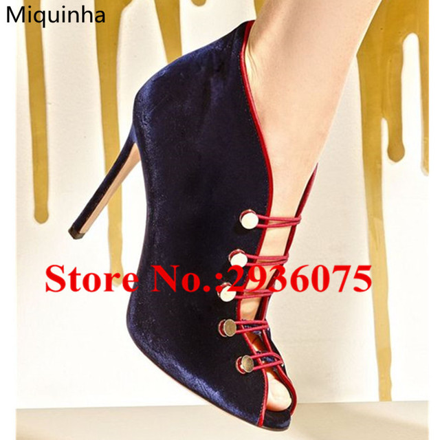 e9f531269b15 Blue Velvet Metal Studded Peep Toe Sexy Booties Mixed Color Stiletto High  Heels Women Pumps Gladiator Sandals Boots Shoes Woman