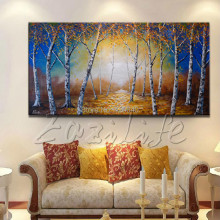 1 Piece Hand Painted Palette Knife Colorful Tree Oil Painting Wall Art Canvas Picture Modern Abstract Home Decor Living Room 1