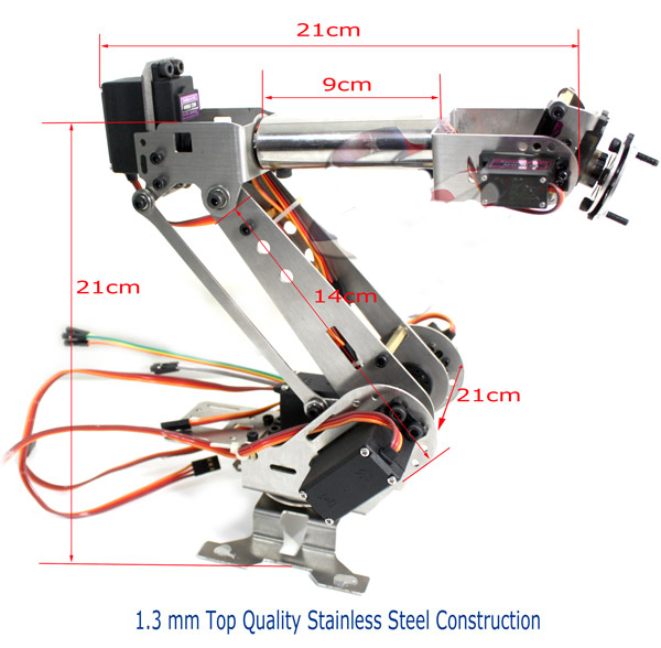 6DOF bras robotique acier inoxydable 6 axes pince rotative mécanique pour Arduino framboise - 2
