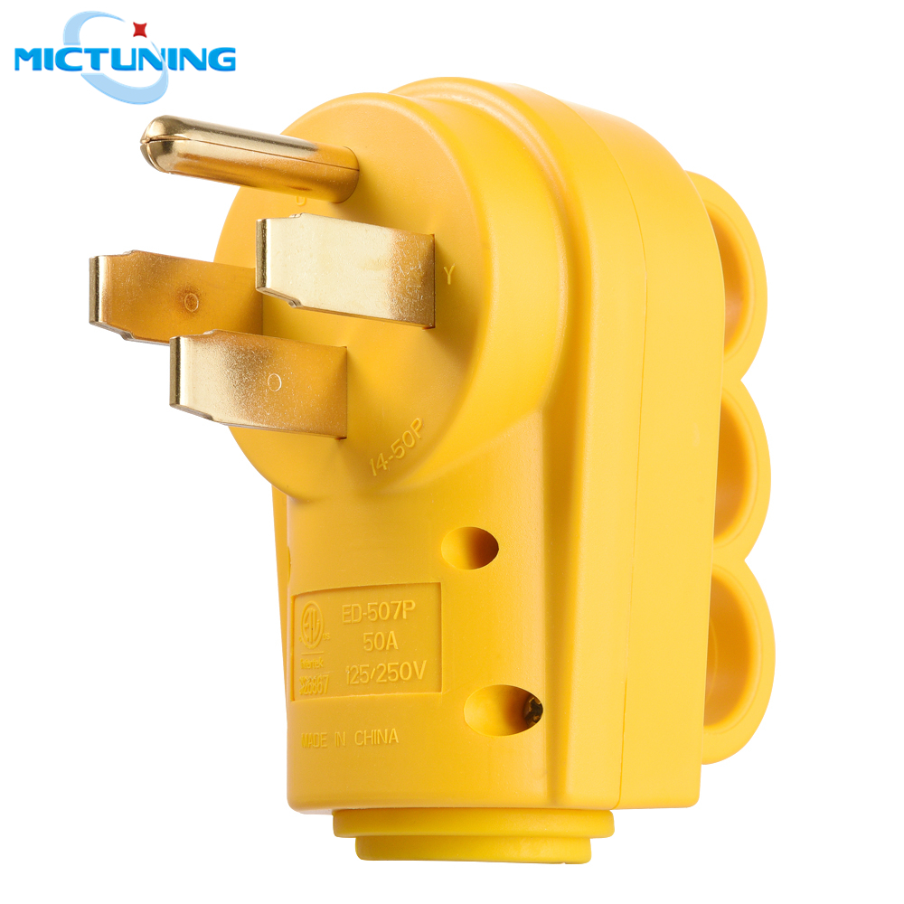 MICTUNING 50 Amp 125/250V RV Replacement Male Plug Ergonomic Grip Handle Heavy Duty 50A Yellow Camper Male Connector Accessories