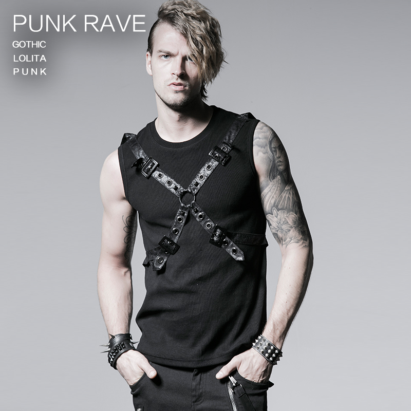 PUNK RAVE black 100%cotton rib summer vest with ether belt T-351
