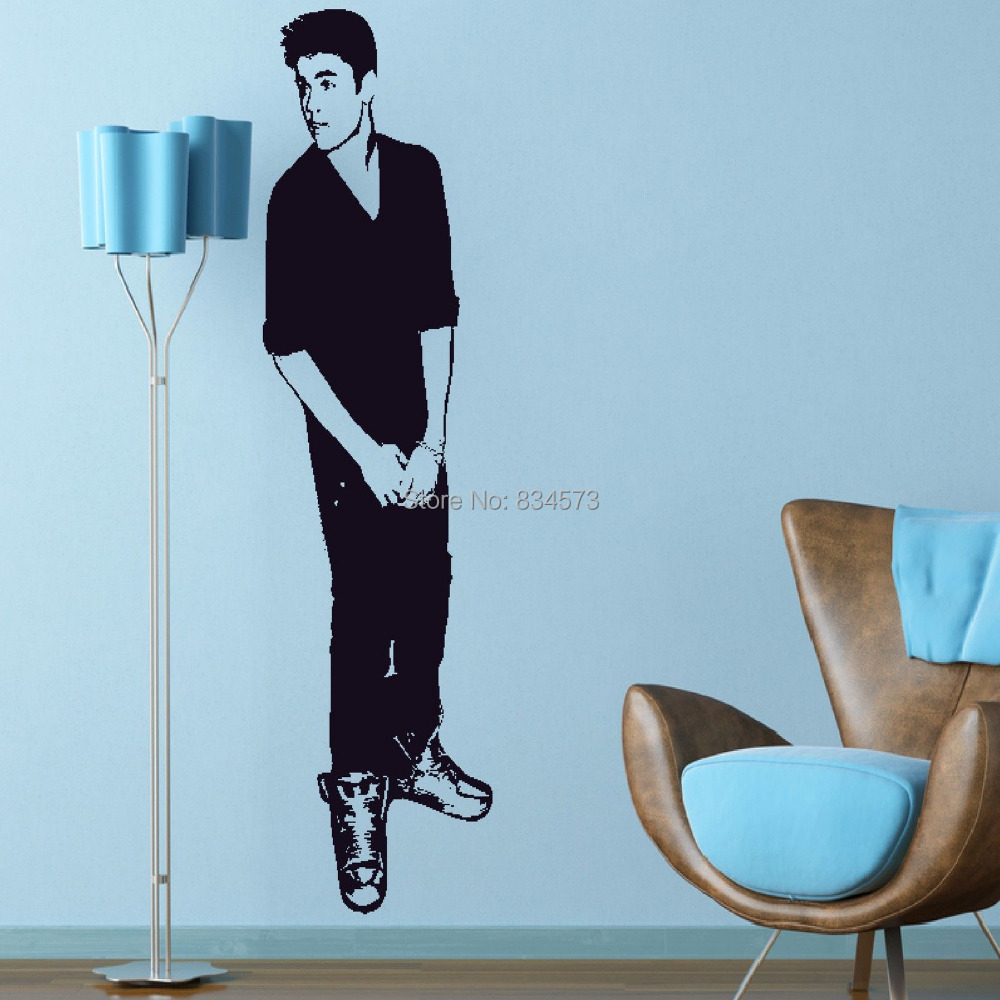 Aliexpress.com : Buy Justin Bieber Celebrity Silhouette Wall Art Stickers  Decal Home DIY Decoration Wall Mural Removable Bedroom Decor Wall Stickers  From ... Part 26