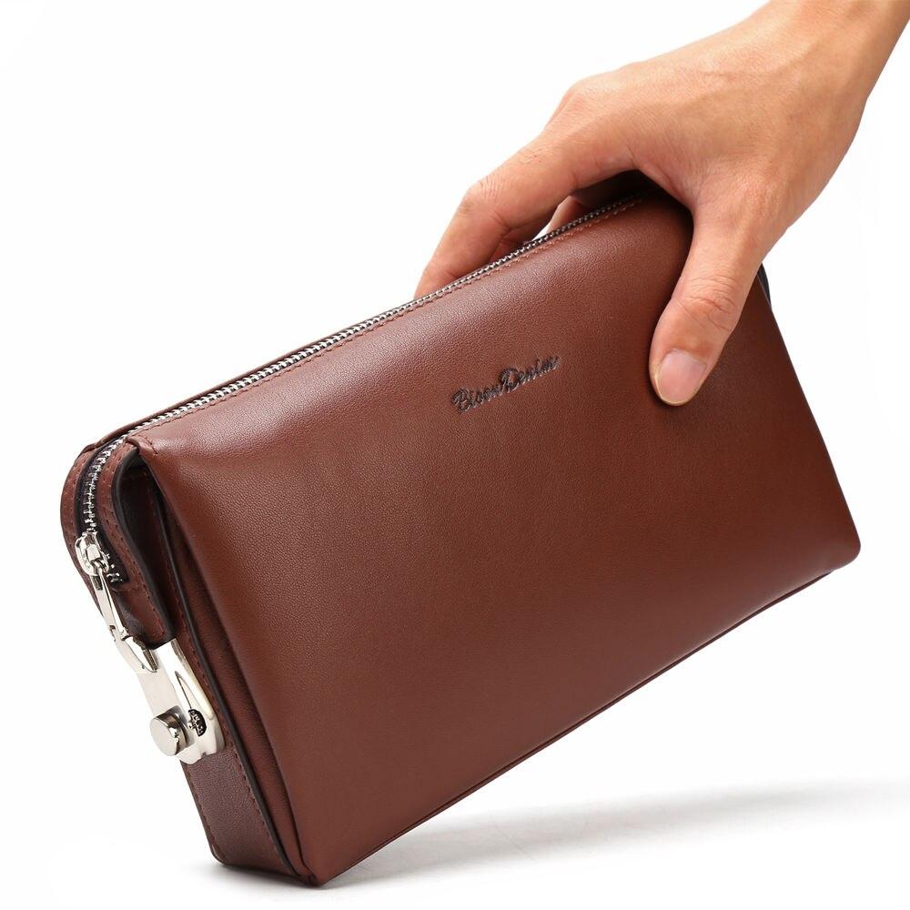 BISON DENIM en cuir véritable hommes portefeuilles d'embrayage mode Zipper homme portefeuille hommes sac à main Long téléphone portefeuille hommes pochette N8015 - 6