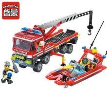 ENLIGHTEN Fire Rescue Fire Boat Crane Truck Fireman Assemble Model Building Blocks Minifigures Kids Educational Kids Toy