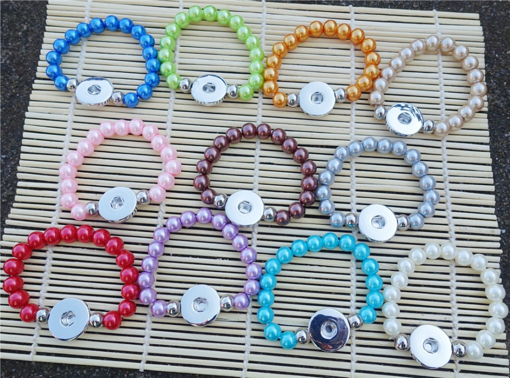 40 Pcs Multi Colors Glass Pearl Beads Stretch Bracelet Handmade 15cm Length Size for Kids 18mm