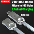 10PCS/Lot Metal Weave 2 in 1 USB Cable Micro to IOS 8pin for iPhone 5 6 7 Plus iPad Android Phone Fast Charging Cable 2.4A RC08