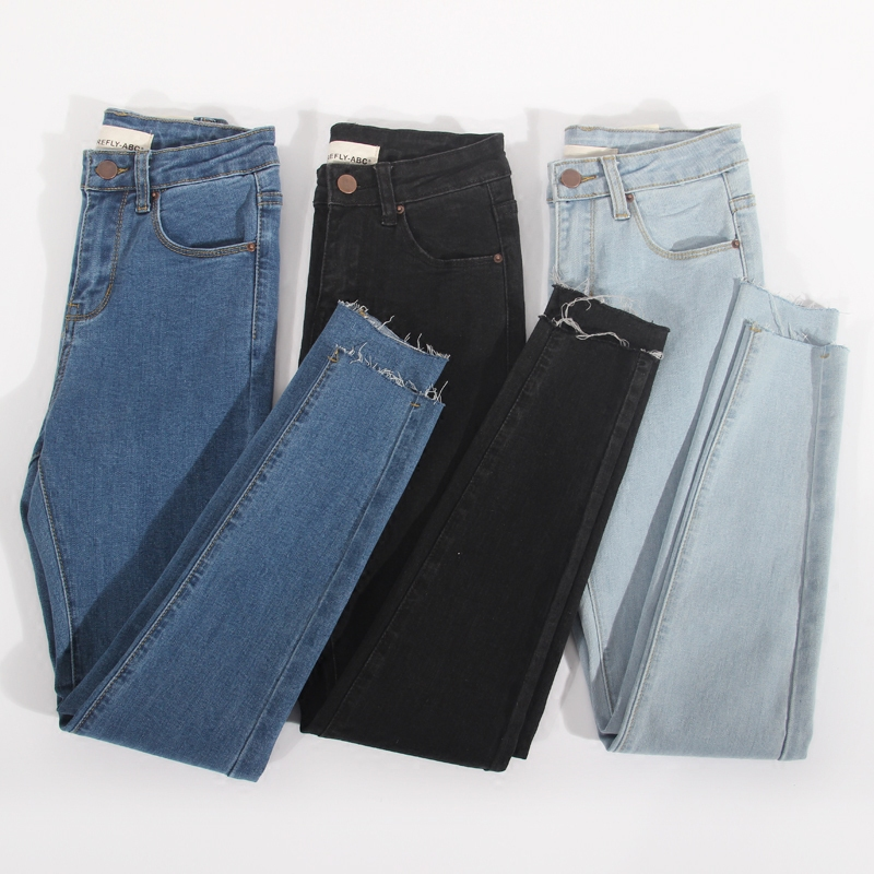 Stretch Jeans Pencil-Pants Long High-Waist Casual Femme Denim Woman New Slim Washed LM057
