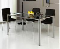 Steel Glass Dining Table And Chair Combination Stainless Steel Table