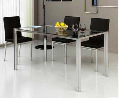 € 94.76 14% de DESCUENTO|Mesa de comedor de vidrio de acero y combinación  de silla. MESA DE ACERO INOXIDABLE-in Sets para el comedor from Muebles on  ...