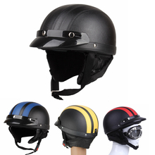 CARCHET Motorcycle Helmet Motor Open Face Motocross Motor Helmet + Visor + Goggles + Scarf Motorcycle Half Helmets
