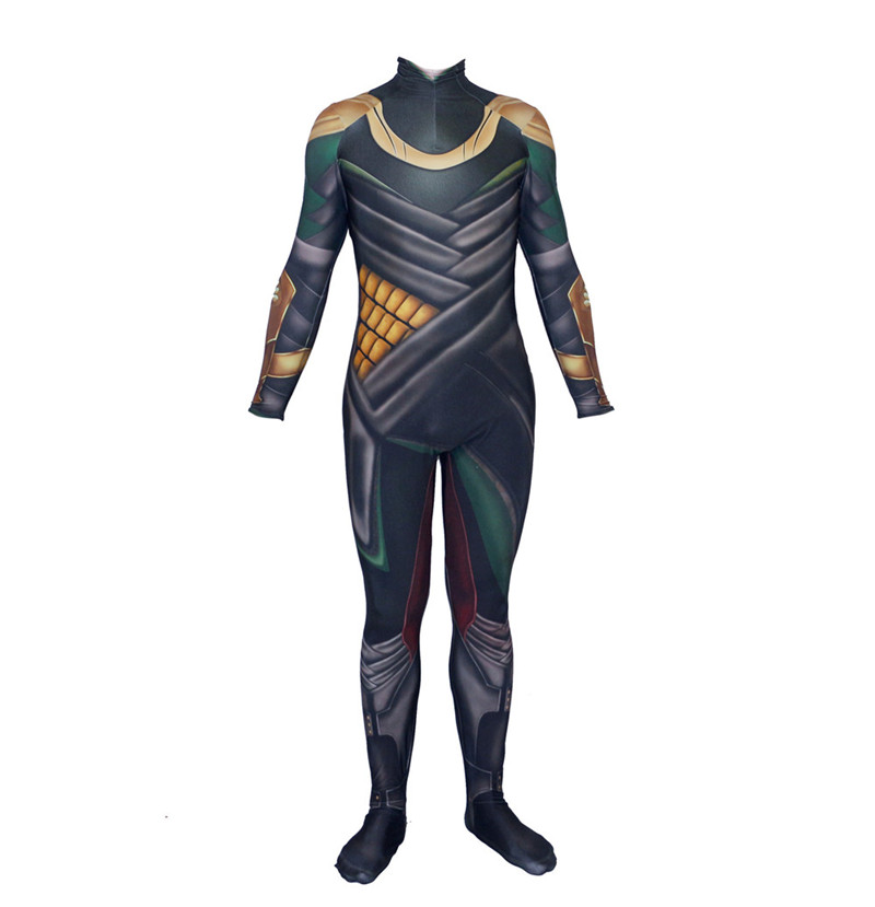 Cosplay Avengers 3D Printed Thor The Dark World Loki Costume Halloween Lycra Spandex Bodysuit Zentai Suit Adult for Purim