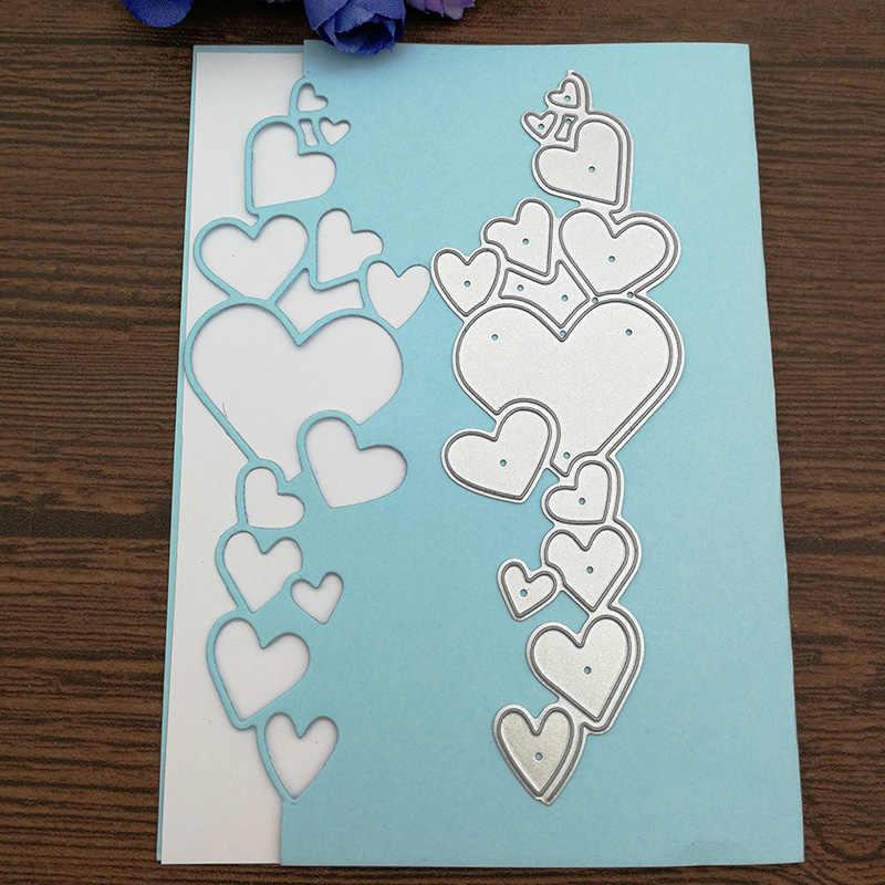 Corazón de encaje para borde de Metal, plantillas de corte para bricolaje, Scrapbooking decorativo Manualidad en relieve, plantilla de corte
