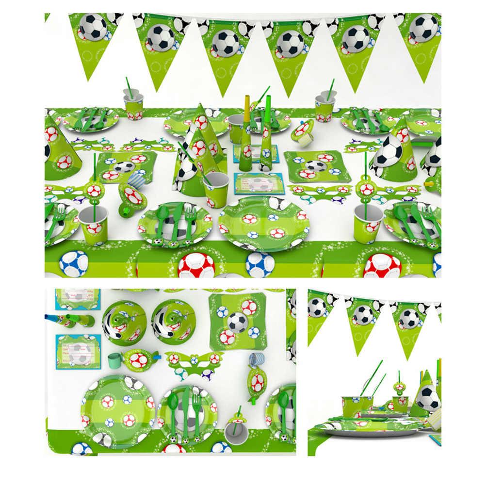 Футбольный кубок футбол Тема дня рождения вечерние принадлежности украшения набор с салфетками вилки ножи тарелки для детей
